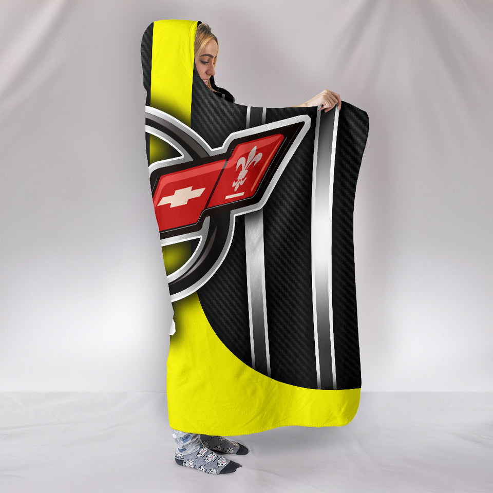 Corvette C5 Hooded Blanket Yellow With FREE SHIPPING TODAY!