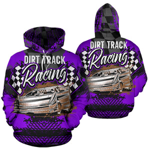 Dirt Track Racing All over Print Hoodie Purple With FREE SHIPPING TODAY!