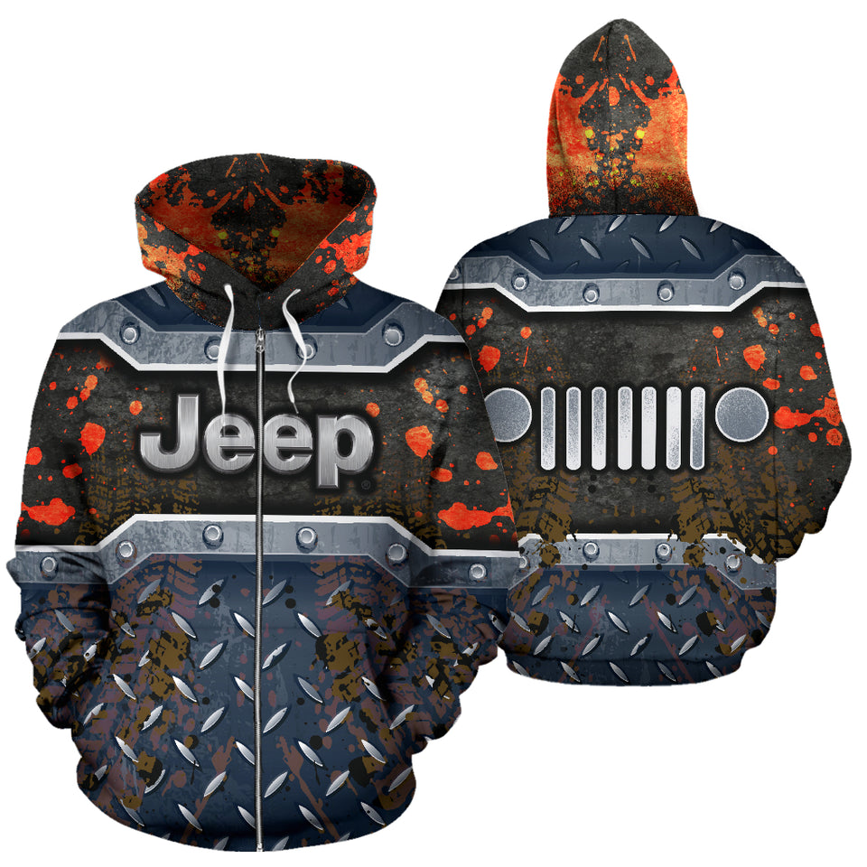 Jeep All Over Print Zip Up Hoodie With FREE SHIPPING TODAY!
