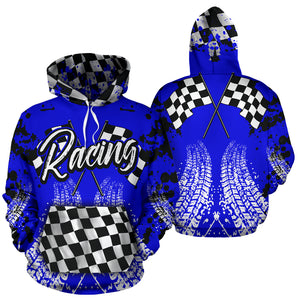 Racing All Over Print Hoodie Blue With FREE SHIPPING TODAY!