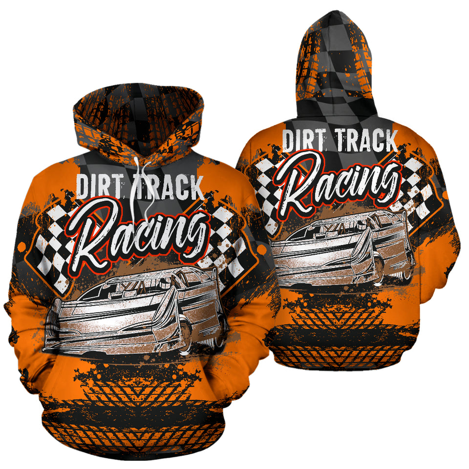 Dirt Track Racing All Over Print Hoodie Orange With FREE SHIPPING TODAY!
