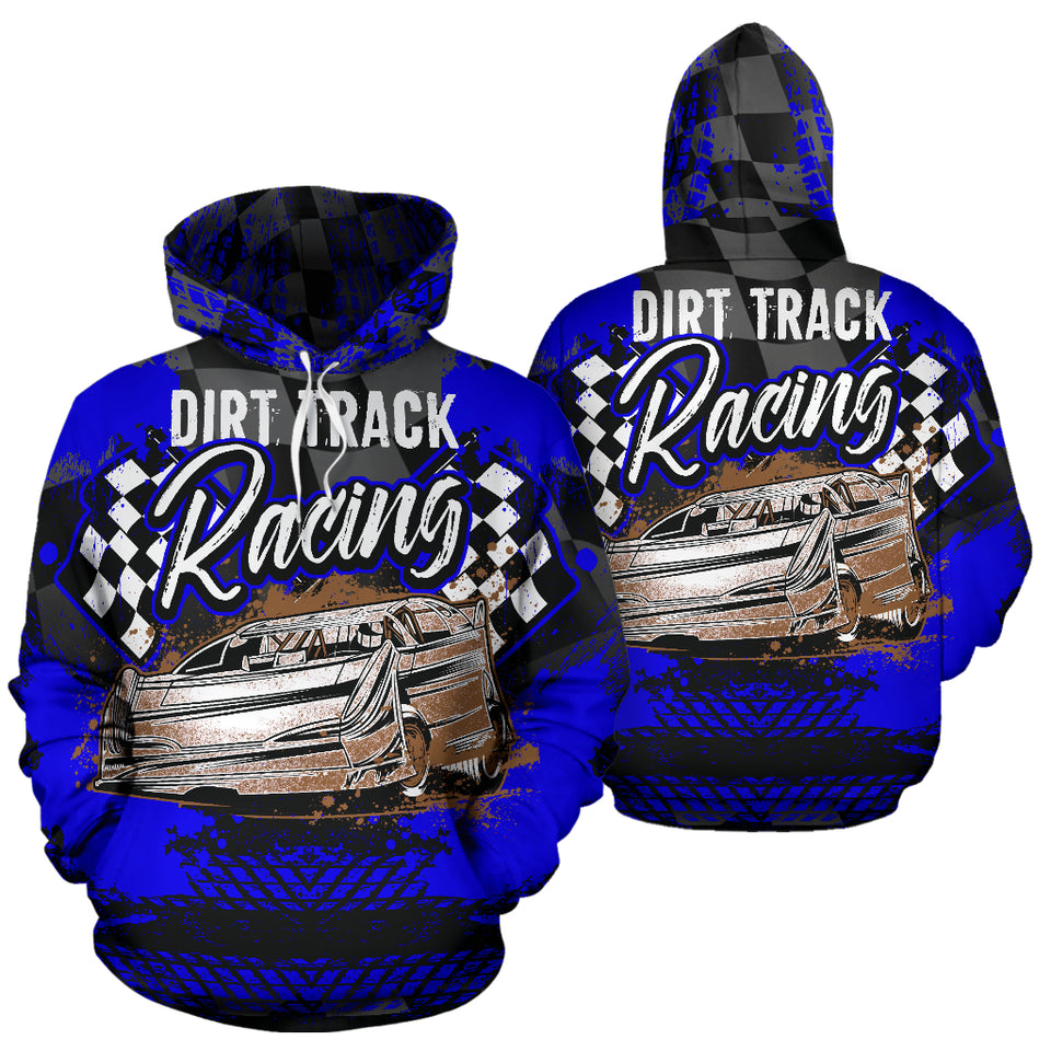 Dirt Track Racing All Over Print Hoodie Blue With FREE SHIPPING TODAY!
