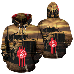 Kenworth All Over Print Zip Up Hoodie With FREE SHIPPING TODAY!