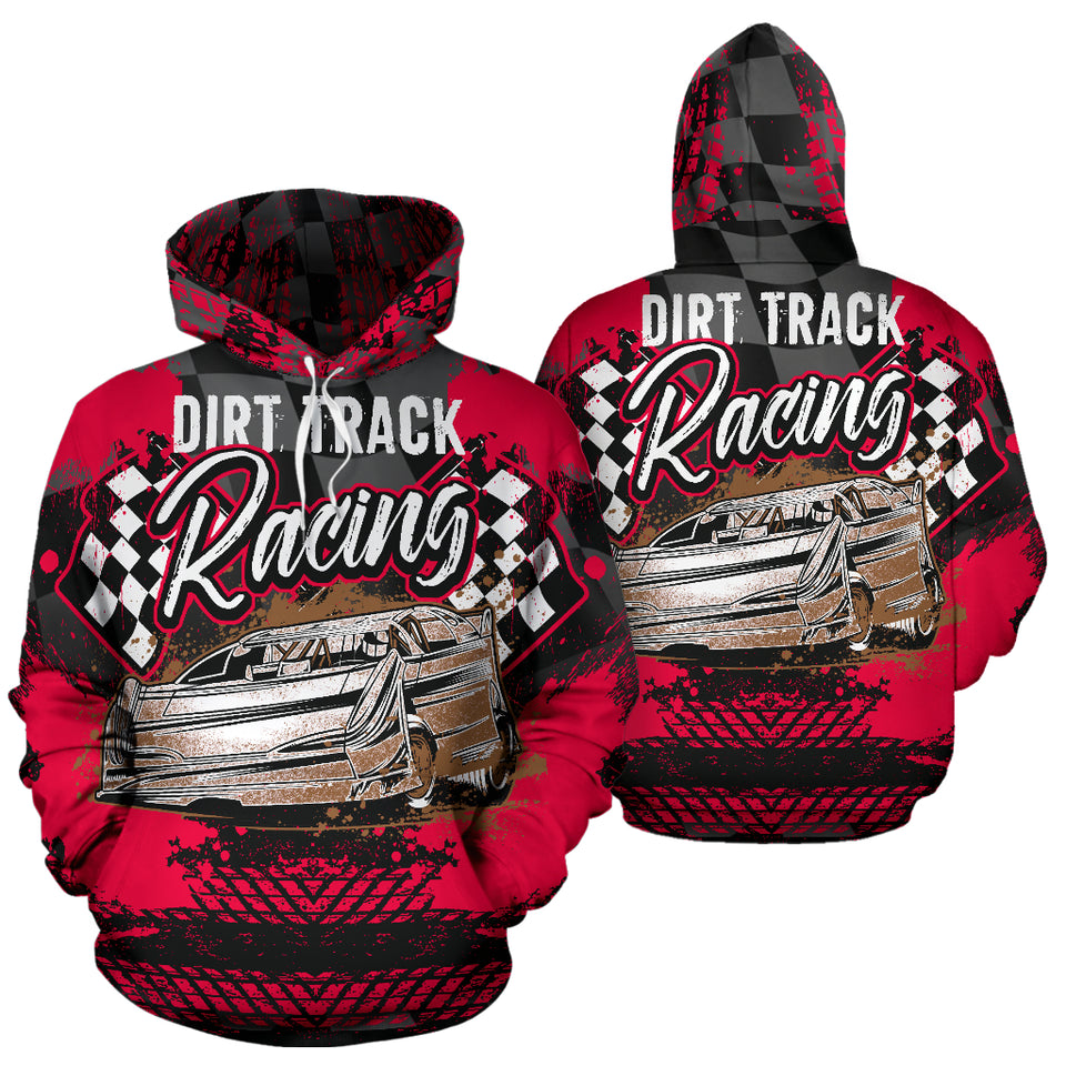 Dirt Track Racing All Over Print Hoodie Red With FREE SHIPPING TODAY!