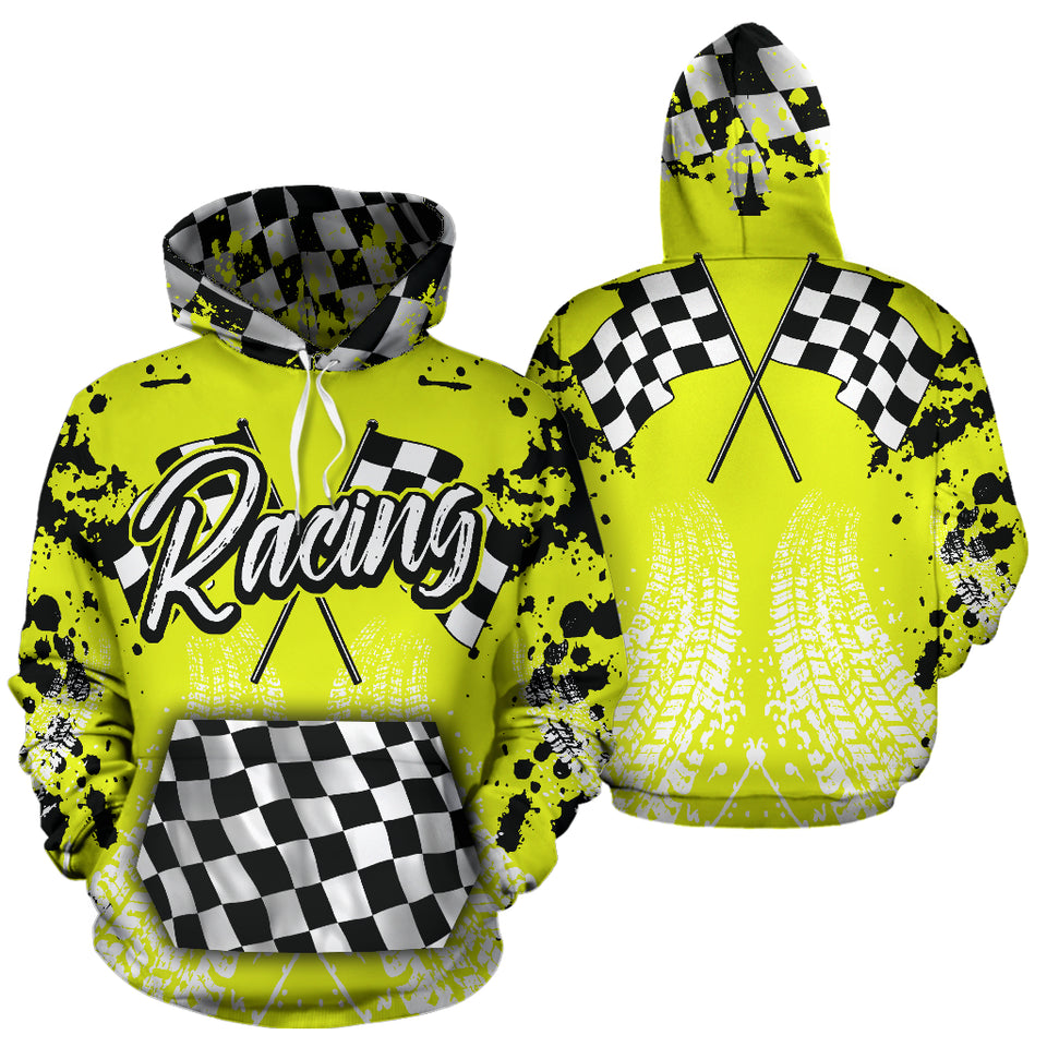 Racing All Over Print Hoodie Yellow With FREE SHIPPING TODAY!
