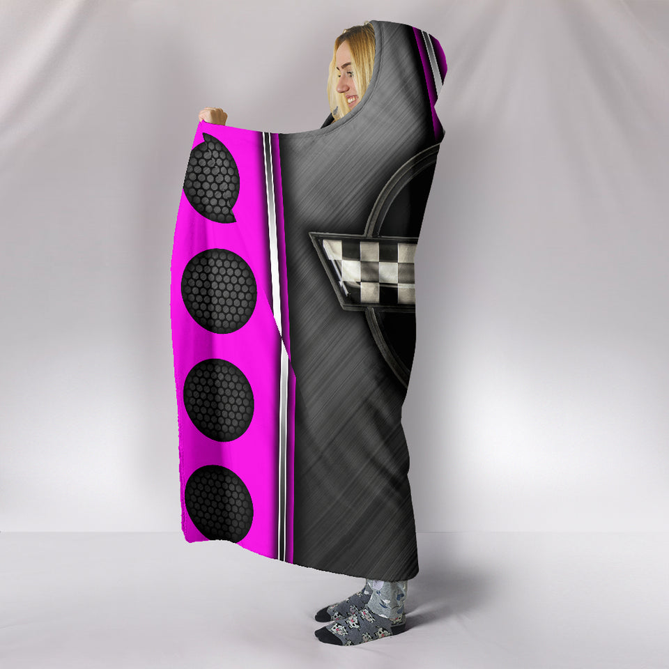 Corvette C4 Hooded Blanket Pink With FREE SHIPPING TODAY!