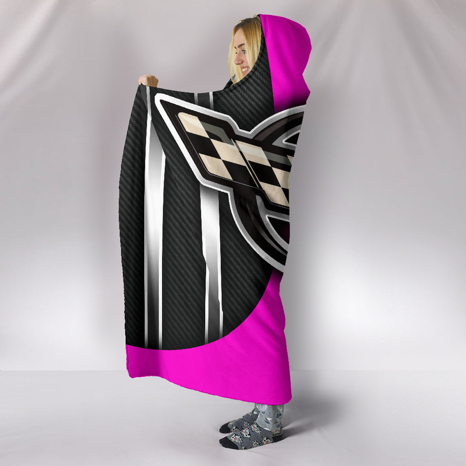 Corvette C5 Hooded Blanket Pink With FREE SHIPPING TODAY!