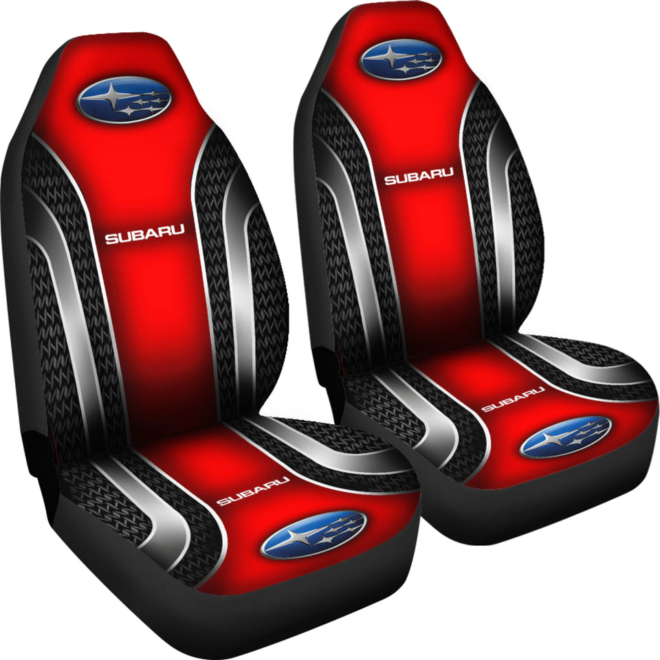 2 Front Subaru Car Seat Covers Red