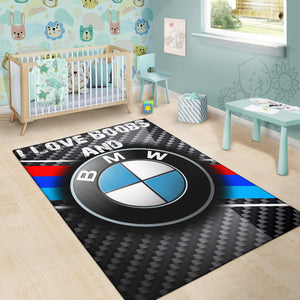I Love Boobs And BMW Rug With FREE SHIPPING!
