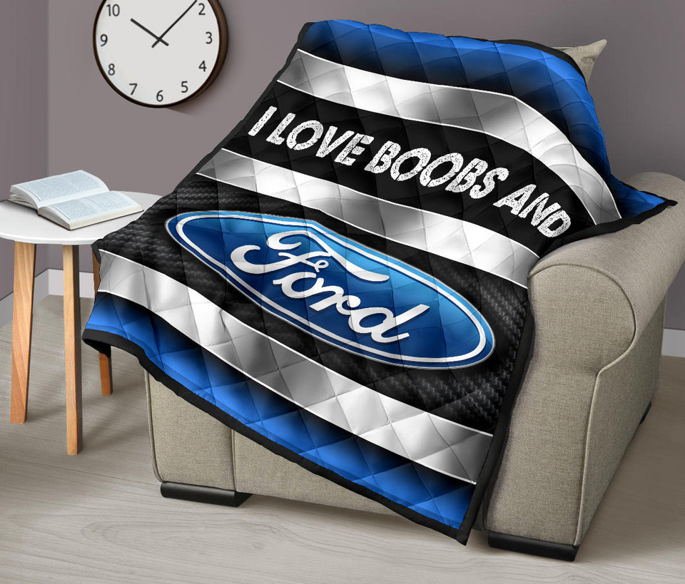 I Love Boobs And Ford Premium Quilt With FREE SHIPPING!