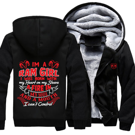 I'm A RAM Girl I Was Born With My Heart On My Sleeve Jacket With Free Shipping!