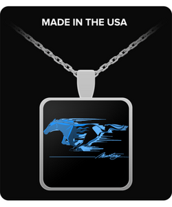 A Must Have Mustang Flaming Pony Muscle Blue Necklace!