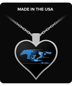 A Must Have Mustang Flaming Pony Muscle Blue Heart Necklace!