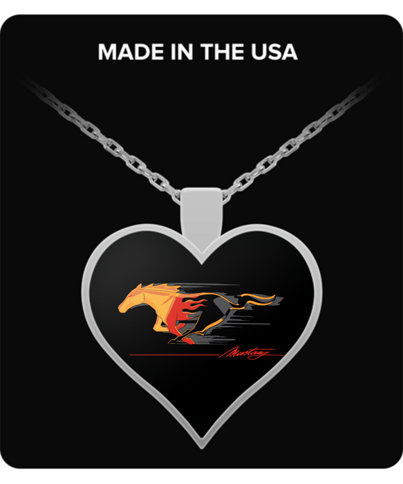 A Must Have Mustang Flaming Pony Muscle Heart Necklace!