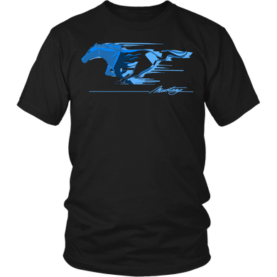 Ford Mustang T-shirt Flaming Pony Muscle Blue V