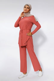 Salmon Ribbed Tunic & Pant Set