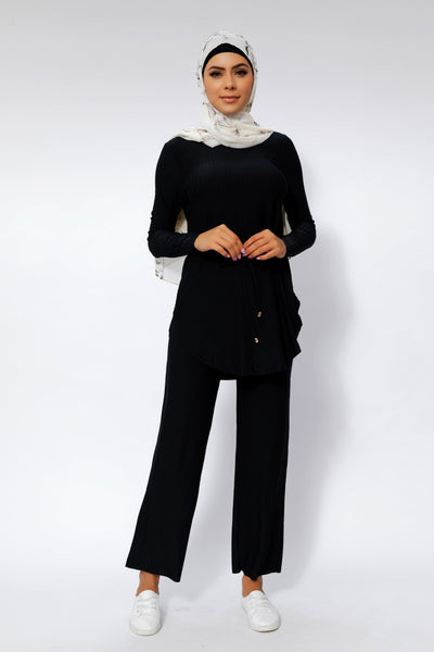 Black Ribbed Tunic & Pant Set
