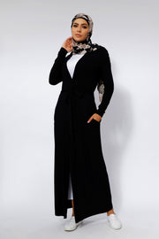 Black Belted Cotton Maxi Cardigan