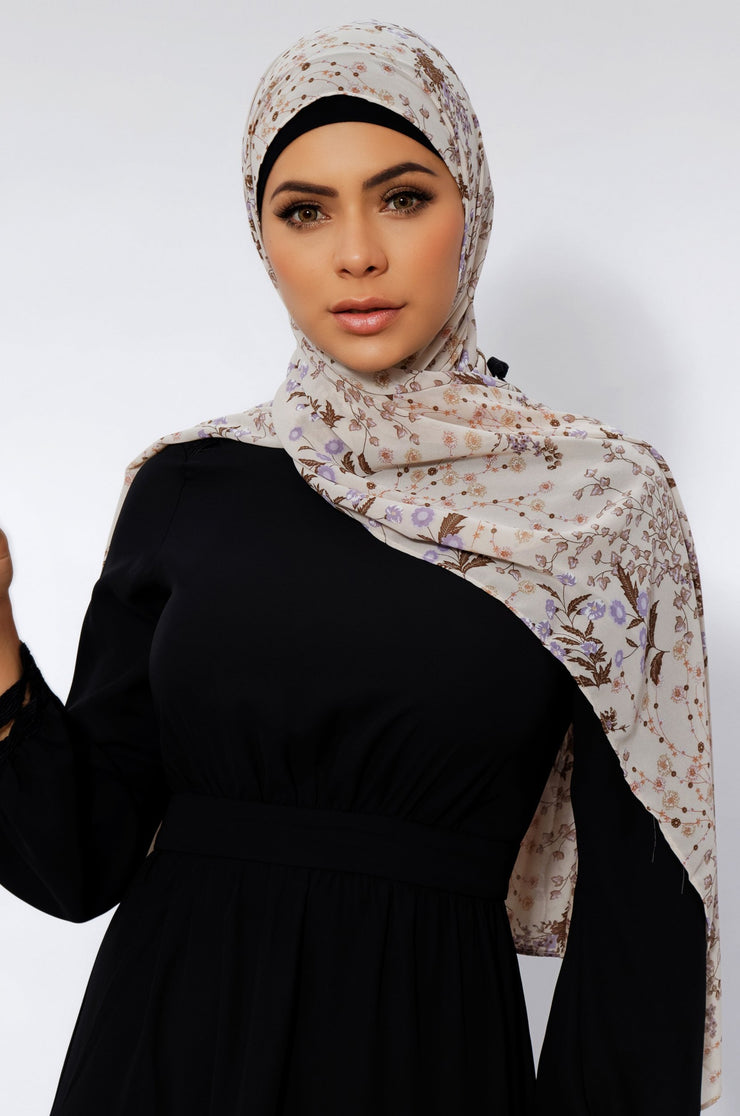 Beige and Brown Chiffon Hijab