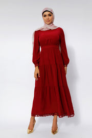 Spiced Maroon Tiered Maxi Dress