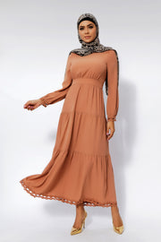 Hazelnut Lace Tiered Maxi Dress