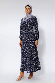 Midnight Blue Floral Maxi Dress