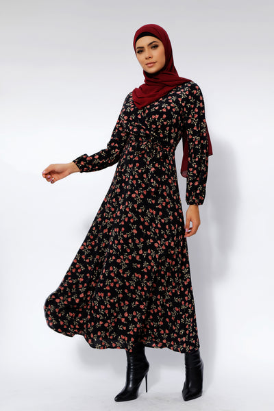 Black Bloom Floral Maxi Dress