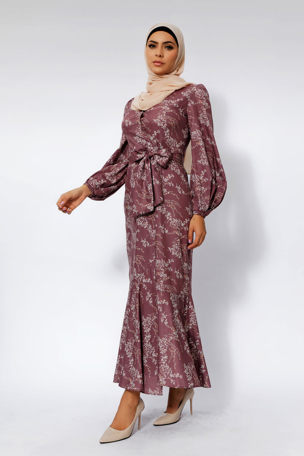 Rose Floral Ruffle Faux Wrap Maxi Dress