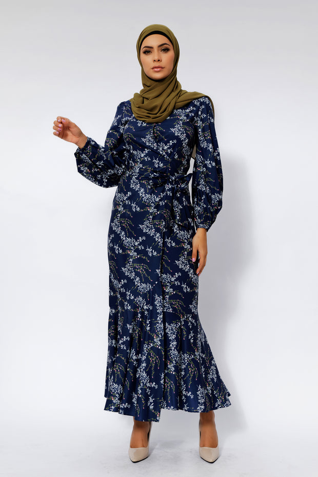 Heavenly Blue Floral Ruffle Faux Wrap Maxi Dress