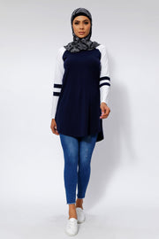 Navy Blue Basic Long Sleeve Cotton Tunic