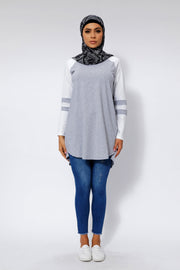 Heather Gray Basic Long Sleeve Cotton Tunic