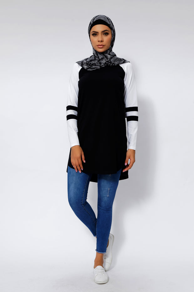 Black Basic Long Sleeve Cotton Tunic
