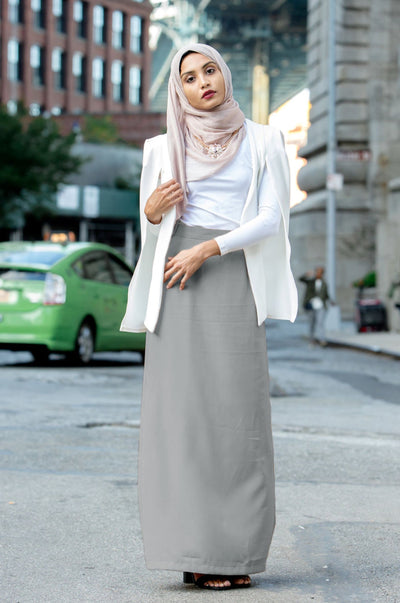 Gray Pencil Maxi Skirt