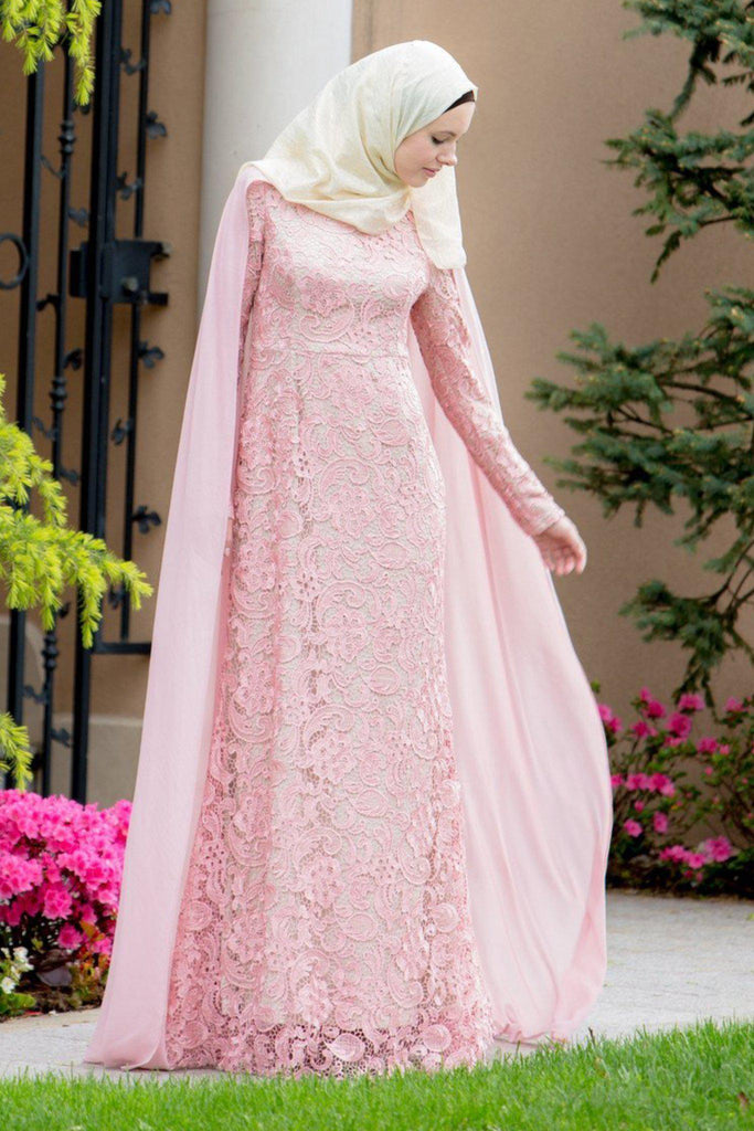 For the Roses Cape Lace Long Sleeve Maxi Gown-Evening Gowns-Urban Modesty Inc.