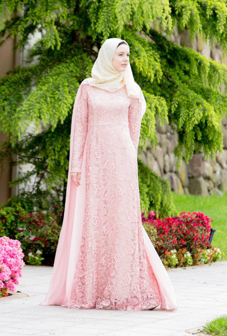 For the Roses Cape Lace Long Sleeve Maxi Gown - CLEARANCE - Abaya, Hijabs, Jilbabs, on sale now at UrbanModesty.com