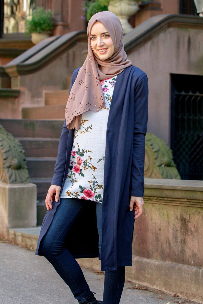 Navy Long Modest Cotton Cardigan- Clearance-Tops-Urban Modesty Inc.