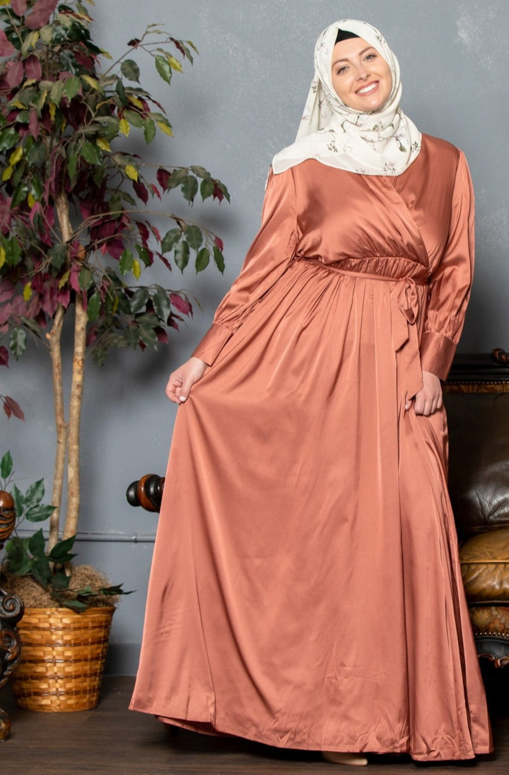 Copper Satin Long Sleeve Maxi Dress