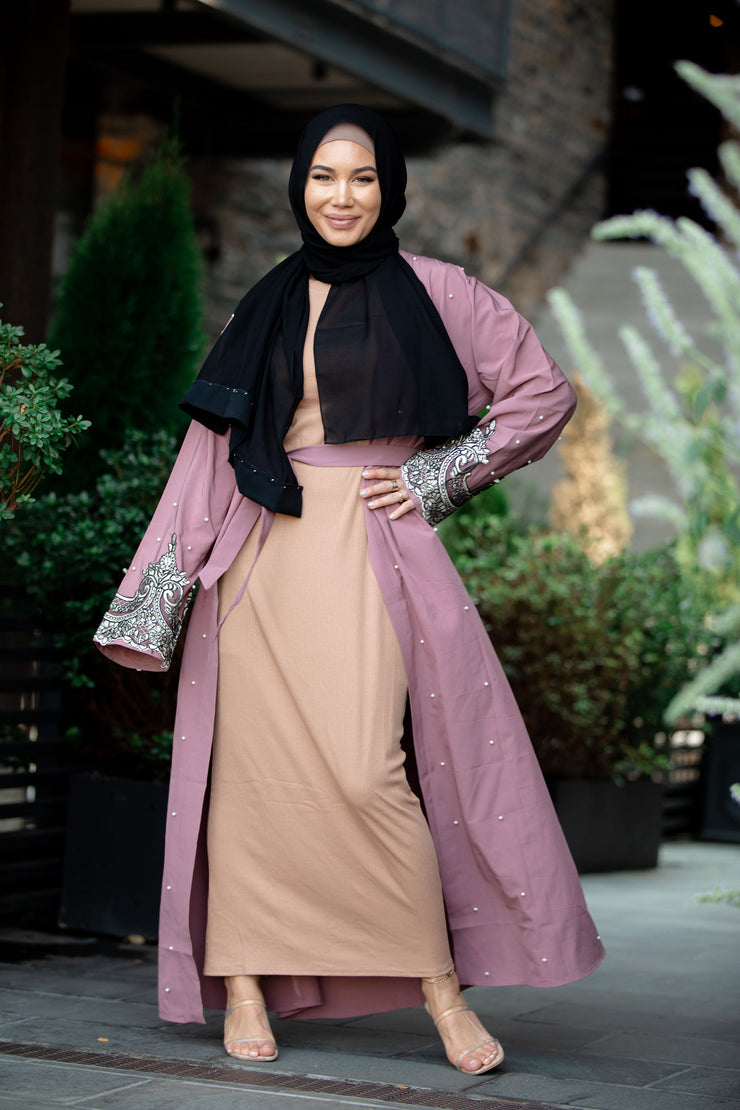 Silver Lace Mauve Open Front Abaya