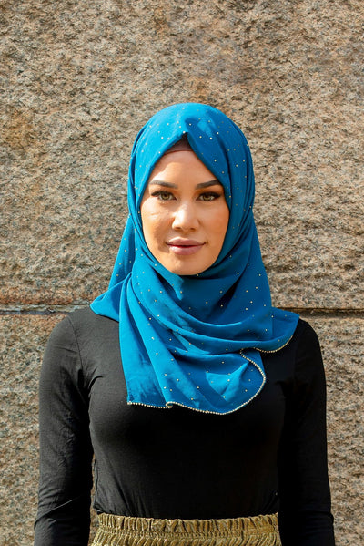 Blue Beaded Chiffon Hijab
