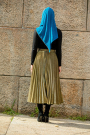 Gold Metallic Pleated Chiffon Maxi Skirt