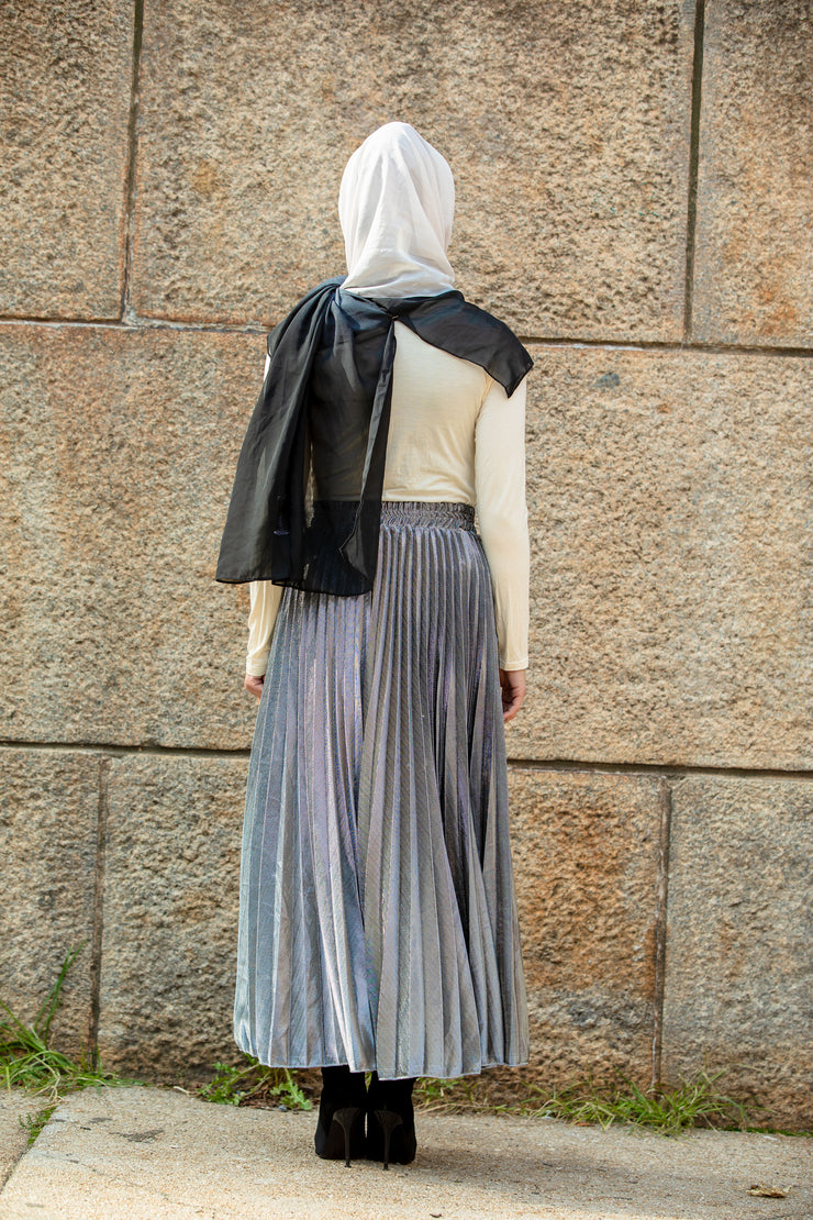 Platinum Metallic Pleated Chiffon Maxi Skirt-PREORDER