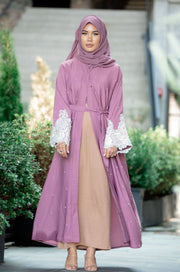 Saba Lace and Pearls Open Front Abaya