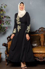 Black Lace N' Pearl Long Sleeve Evening Gown