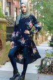 Navy Hi-Lo Floral Tunic Top-Tops-Urban Modesty Inc.