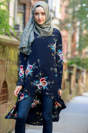 Navy Hi-Lo Floral Tunic Top-Clearance - Abaya, Hijabs, Jilbabs, on sale now at UrbanModesty.com