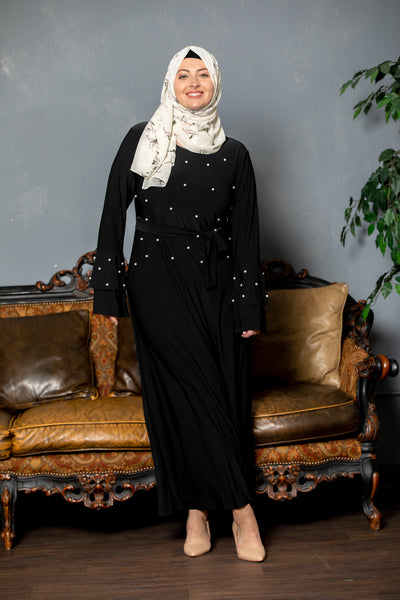 Black Jersey Pearl Ruffle Sleeve Maxi Dress