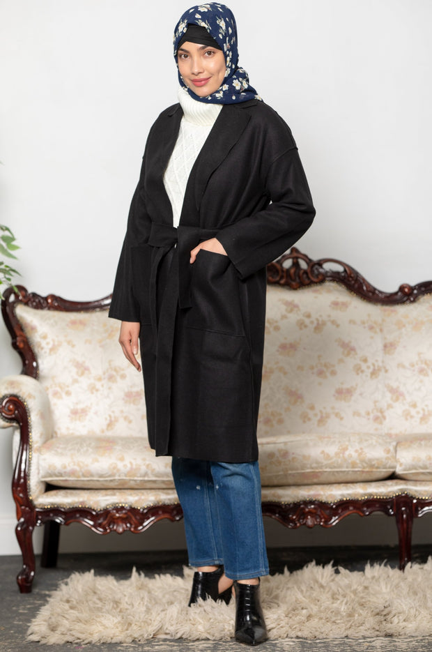 Black Oversized Belted Wool Modest Coat