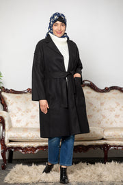 Black Oversized Belted Wool Modest Coat-CLEARANCE