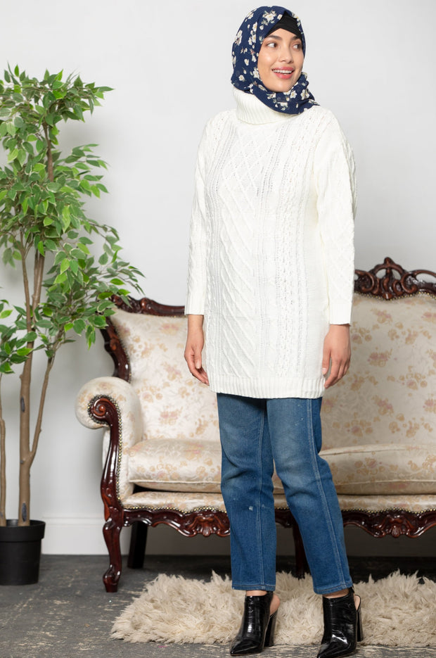 Ivory Cable Turtleneck  Sweater
