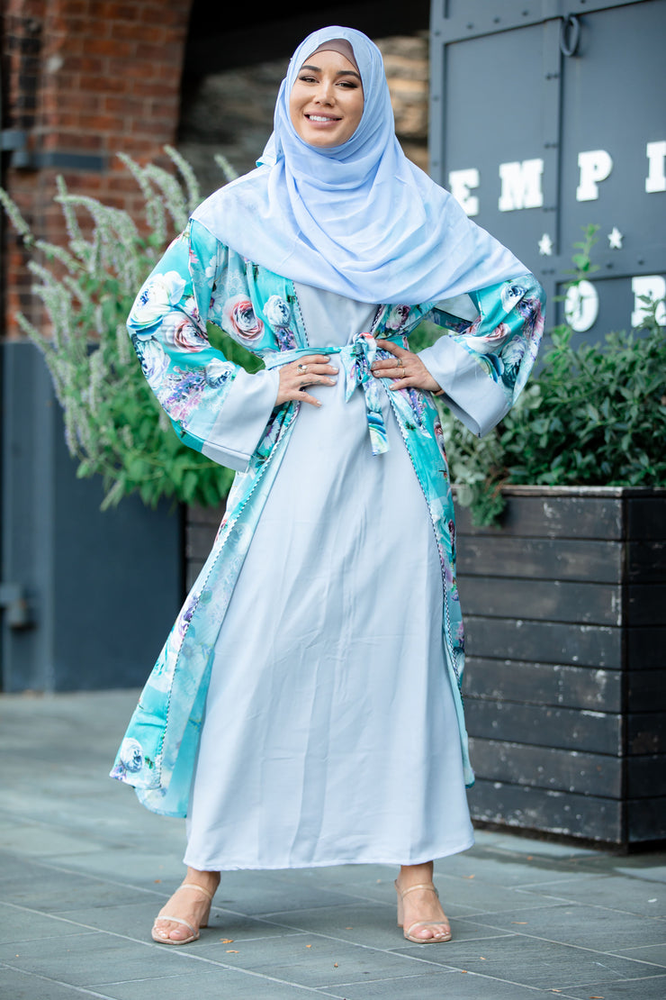 Blue Floral Satin Abaya Maxi Dress (Hijab Included)